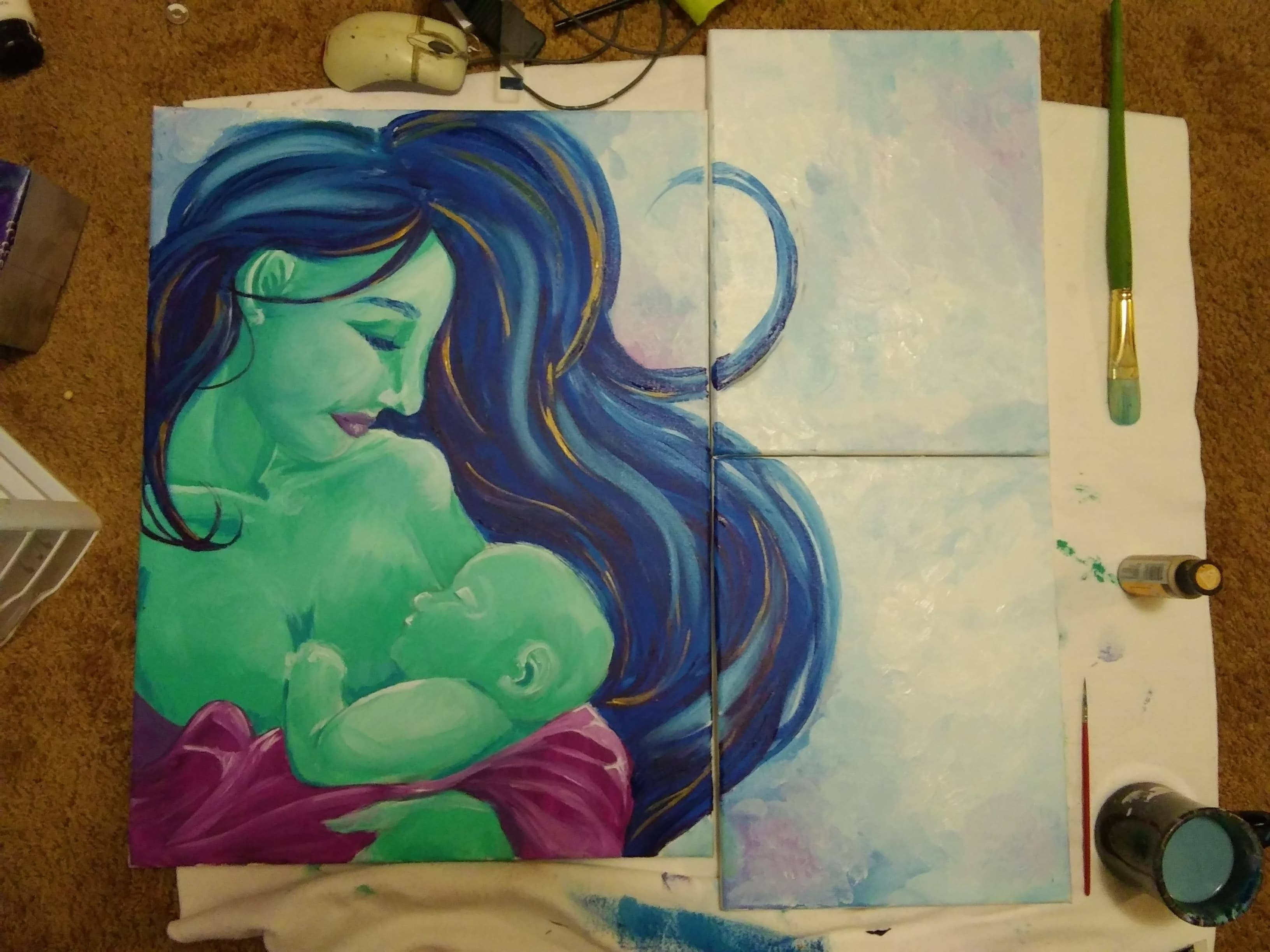 painting of a green woman holding a baby