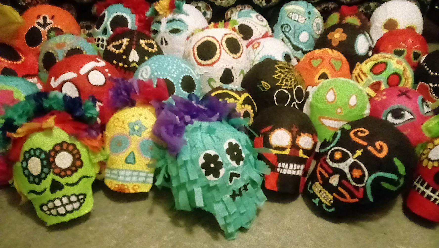 Papier-mâché decorated skulls for Day of the Dead